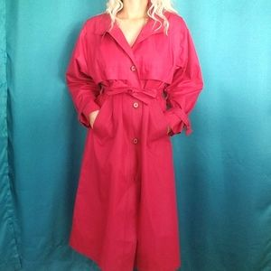 London Fog Bright Pink Red Trench Coat size 4 P